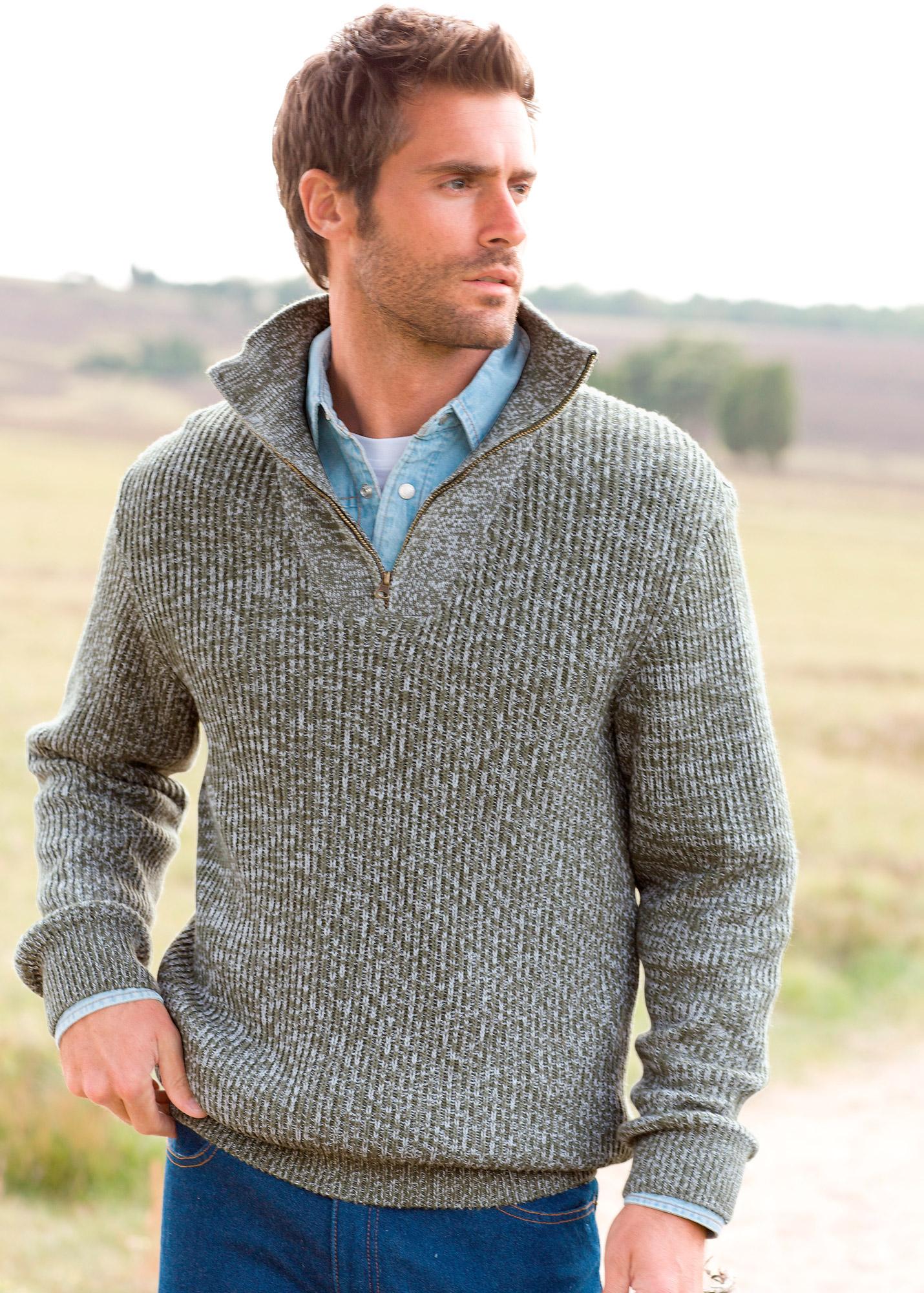 Мужской пуловер крупной вязки доставка