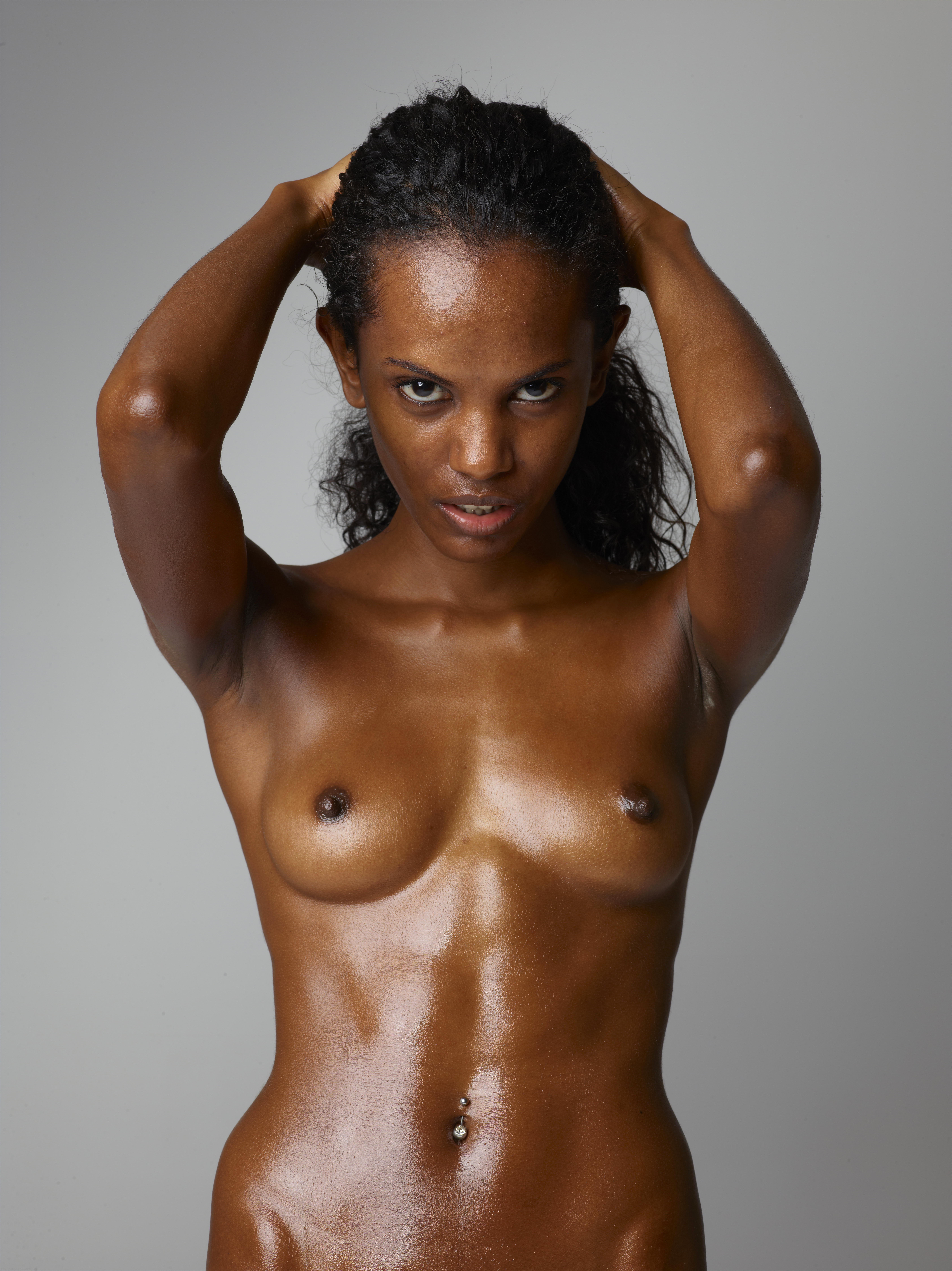 Nude black female fitness models