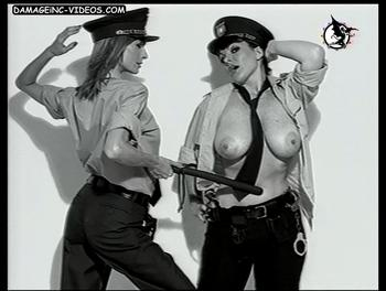 Topless big chested police officer